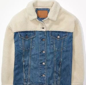 American eagle sherpa denim oversized jacket